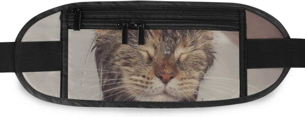 Travel Waist Pack,travel Pocket With Adjustable Belt Cat Bath Wet Cat Girl Washes Running Lumbar Pack For Travel Outdoor Sports Walking