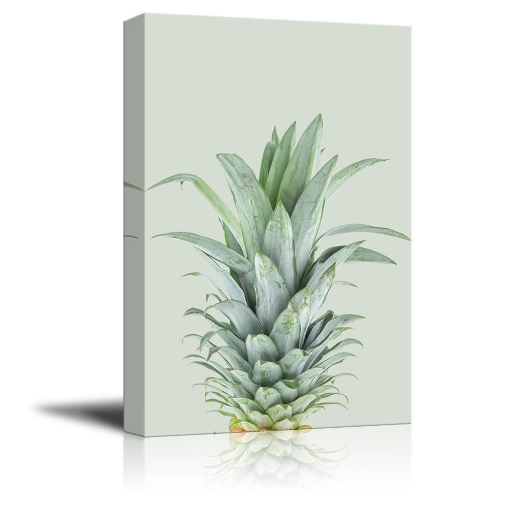 12x18 inches wall26 Canvas Wall Art Giclee Print Gallery Wrap Modern Home Decor Pineapple on Wood Style Background Ready to Hang