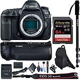 Canon EOS 5D Mark IV DSLR Camera (Body Only) Battery Grip, 64GB Extreme Pro Memory Card, Monopod Bundle International Model