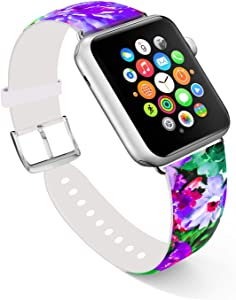 Ecute Compatible with Apple Watch Band 38mm 40mm, Soft Leather Band Strap Compatible with iWatch Series 6/5/4/3/2/1 - Colorful Flowers