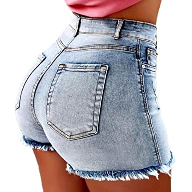 prezzo più basso 1205e 73dc5 OranDesigne Pantaloncini Jeans Donna Vita Alta Corti Estivi Shorts Sexy  Pantaloncini Corti Sfilacciati
