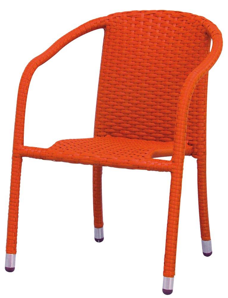 Siena Garden 925664 Stapelsessel Mini Wien, Stahl-Untergestell, Gardino-Geflecht orange, 38 x 40 x 55 cm