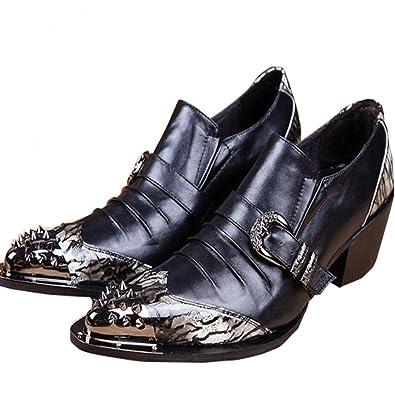 Men's Leather Loafers With Rivet Wedding Dress Shoes Slip On Buckles Black (US 7)