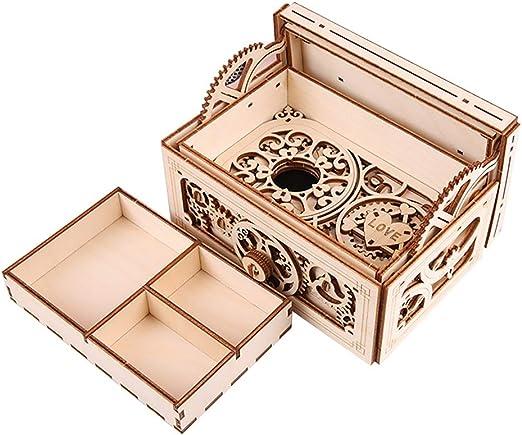 HLD Joyero de Madera mecánica Transmisión de música Modelo 3D DIY Asamblea Secreto del Cofre del Tesoro Caja de Caja de música Cajas Musicales: Amazon.es: Hogar