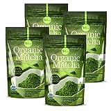 4 Pack Organic Matcha Green Tea Powder - 100% Pure Matcha (No Sugar Added - Unsweetened Pure Green Tea - No Coloring Added Like Others)