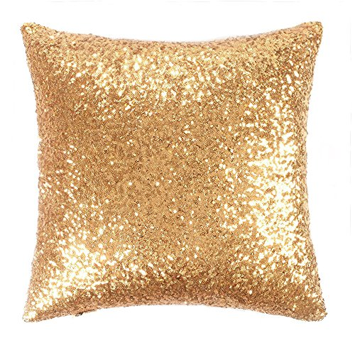 Sparkling Sequins Stylish Cusion Covers - PONY DANCE Solid Accent Cushion Cover Euro Pillow Case with Sequins Including Hidden Zipper Design,18 x 18-Inch,1 Piece,Gold (Sequin Accent)