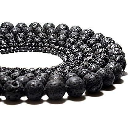 Black Volcanic Lava Stone Rock Gemstone Gem Round Charm Natural Stone Beads  10mm 1 Strand 15 5