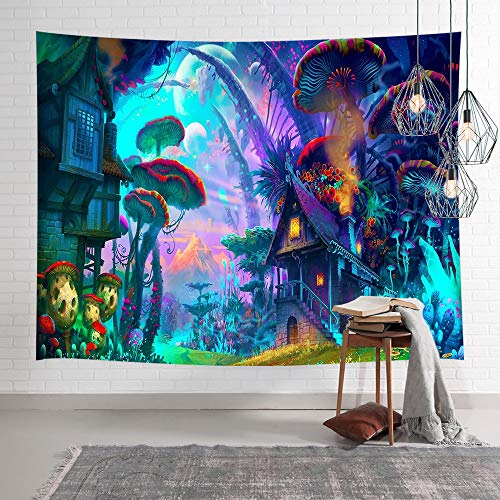 NYMB Psychedelic Mushroom Tapestry Fantasy Plant Magical Forest Tapestry Trippy Electric Forest Art for Home Decor Wall Hanging Tapestry Wall Art Decor Blacklight Tapestries for Bedroom Living Room