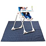 Sumnacon Baby Splat Mat for Under High Chair Floor Protector, Reusable Washable Feeding Highchair Food Splash Spill Mats,Toddler Seat Splat and Portable Kids Play Mat (Blue)