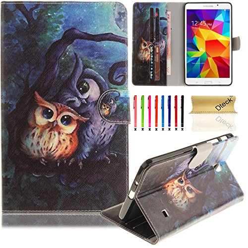 Samsung Galaxy Tab 4 7.0 Case SM-T230 Case, Dteck Cute Cartoon Design Flip PU Leather Cases and Covers with [Card Slots] Wallet Case for Samsung Galaxy Tab 4 7.0 inch T230/T231/T235--Owl (Cartoons Galaxy Tab Case 4)