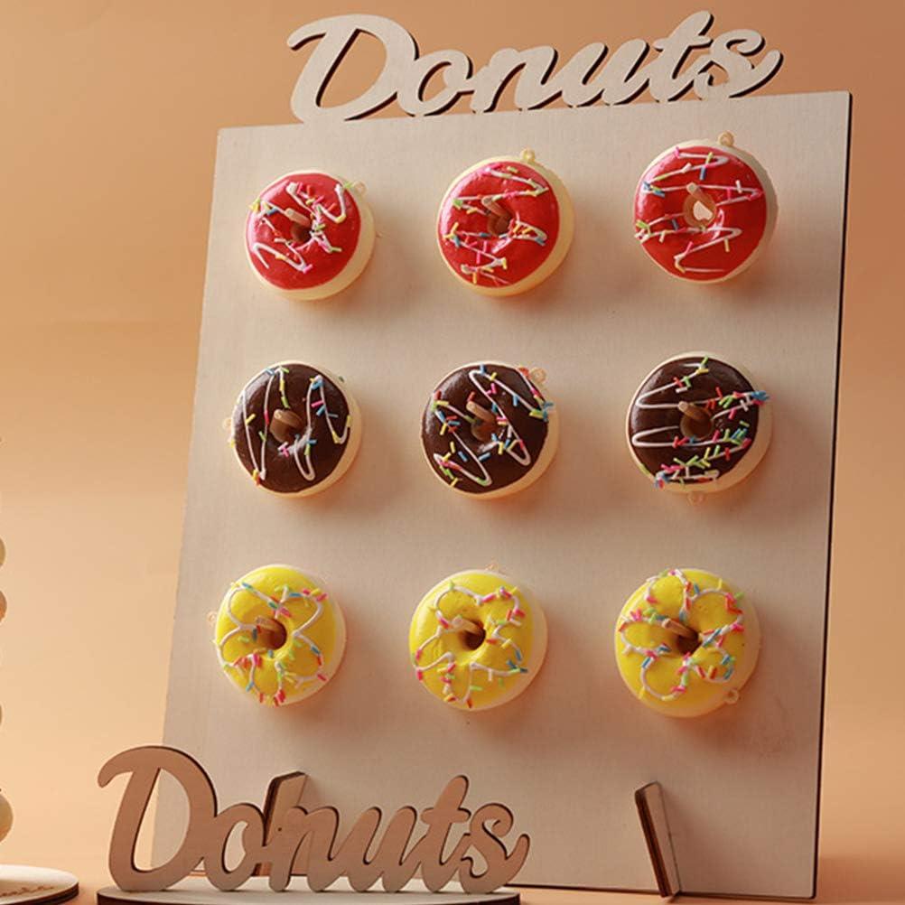 TIMESETL 2 Pcs Donut Wall Soporte para donuts de madera mesas de dulces,9 donuts Decoraci/ón de madera para casa bodas fiestas de cumplea/ños entregas Party