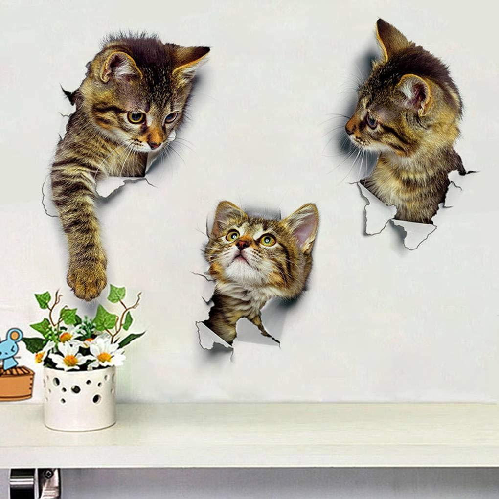 Censhaorme DIY 3D del Gato extraíble Aseo Cartel Pegatinas Kids Room Decor Nursery Decal Sticker Fondo de Pantalla