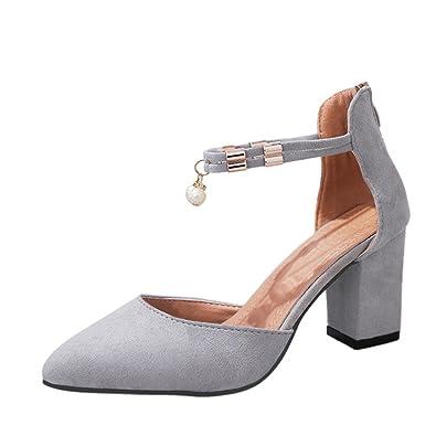 Sandalen Damen Strass Metall Zipper Spitz Rau mit Hochhackigen Schuhen Sandalen Schwarz Grau