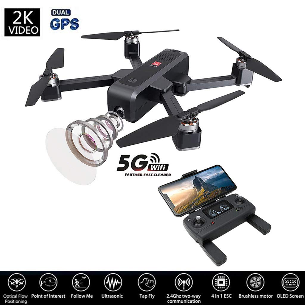 MJX Bugs 4W Foldable Drone Dual GPS Full HD 2K 5G WiFi Camera Record Video Aerial Photography Remote Control Aircraft Altitude Hold Track Flight Battery Double Charging OLED Screen US Delivery