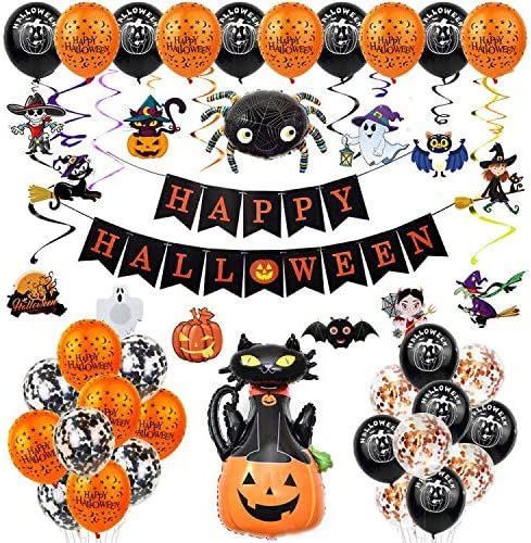 60 Pack Halloween Decorations Halloween Party Favors Halloween Decor Kit Happy Halloween Balloons Banner Pumpkin Bat Ghost Cat Spider Skull Cards Set Inflatables Indoor Decorations Toys Gifts