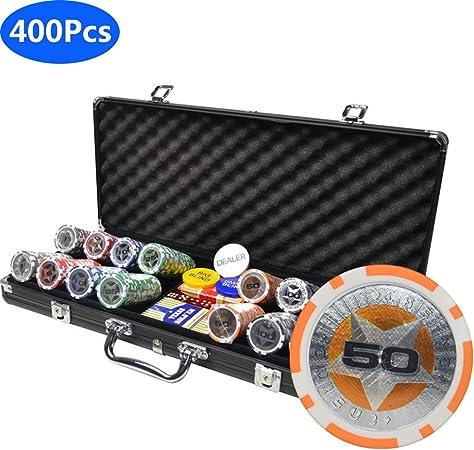 Juego De Fichas De Póker Pokerset con Caja De Aluminio, 400 Chips Láser De Núcleo De Metal De 12 Gramos, 2 Mazos De Póker, 5 Dados, 1 Botón De Distribuidor: Amazon.es: Hogar