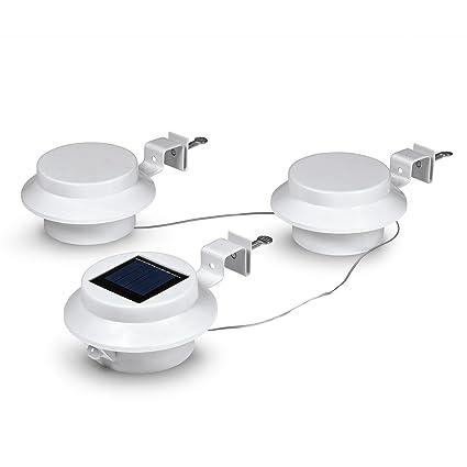easymaxx lámpara solar de canalón | Juego de 3, redondo | Sensor de movimiento integrado