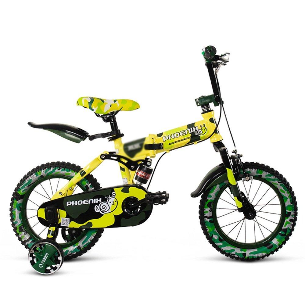 HAIZHEN マウンテンバイク チャイルドフォールド自転車3-6-8歳のベビーベビーカー12インチ14インチ16インチバイク 新生児 B07C6V7F9G 16Inch|イエロー いえろ゜ イエロー いえろ゜ 16Inch
