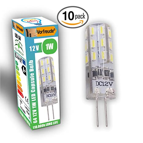 Vorfreude® ▻ Bombillas LED 12V 1W G4 ▻ 10unidades ▻ 110.000