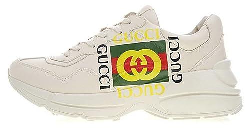 Gucci Rhyton Vintage Gucci Logo White Green Blanco Cuero Zapatillas Hombre: Amazon.es: Zapatos y complementos