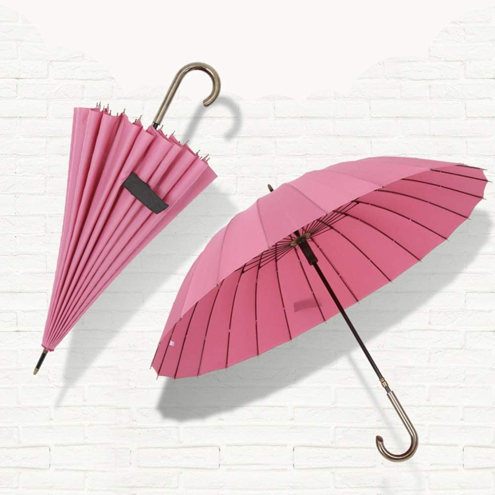 ZHANGAIZHEN Large Double Long Handle Umbrella Windproof Anti-Storm Color : Plum Pink