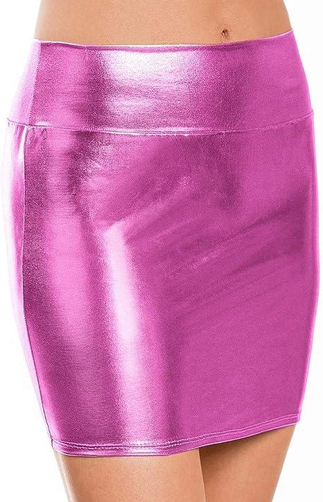 HEHEAB Falda,Hot Pink Mujeres Mini Falda Falda De Cuero para Mujer ...
