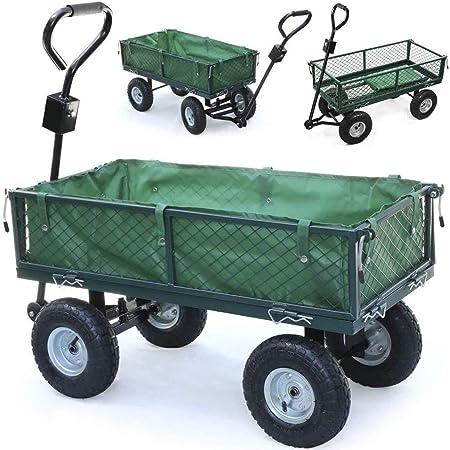 Ann Carretilla de jardín, Carro de Metal de Transporte de 4 Ruedas con dirección y neumáticos Plegables Laterales y Todo Terreno, Capacidad de Carga de 300 kg: Amazon.es: Hogar