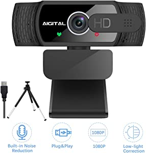 Aigital Webcam with Microphone, HD 1080P Computer Camera with Privacy Cover and Tripod, USB Webcam Plug and Play for PC Desktop Laptop, Autofocus Webcam with 360° Rotating Design for Video Conference