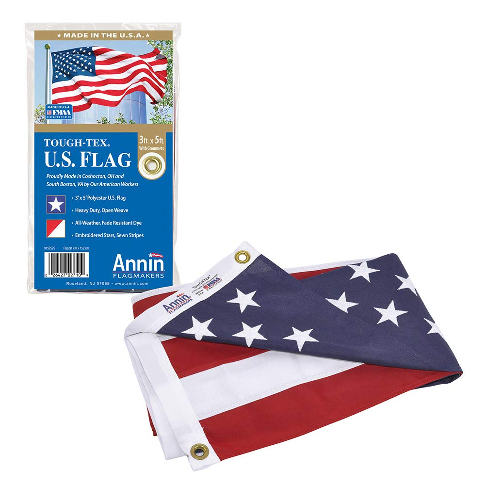 Annin Flagmakers Model 2710 American Flag 3x5 ft. Tough-Tex the Strongest, Longest Lasting Flag , 100% Made in USA with Sewn Stripes, Embroidered Stars and Brass Grommets. by Annin Flagmakers