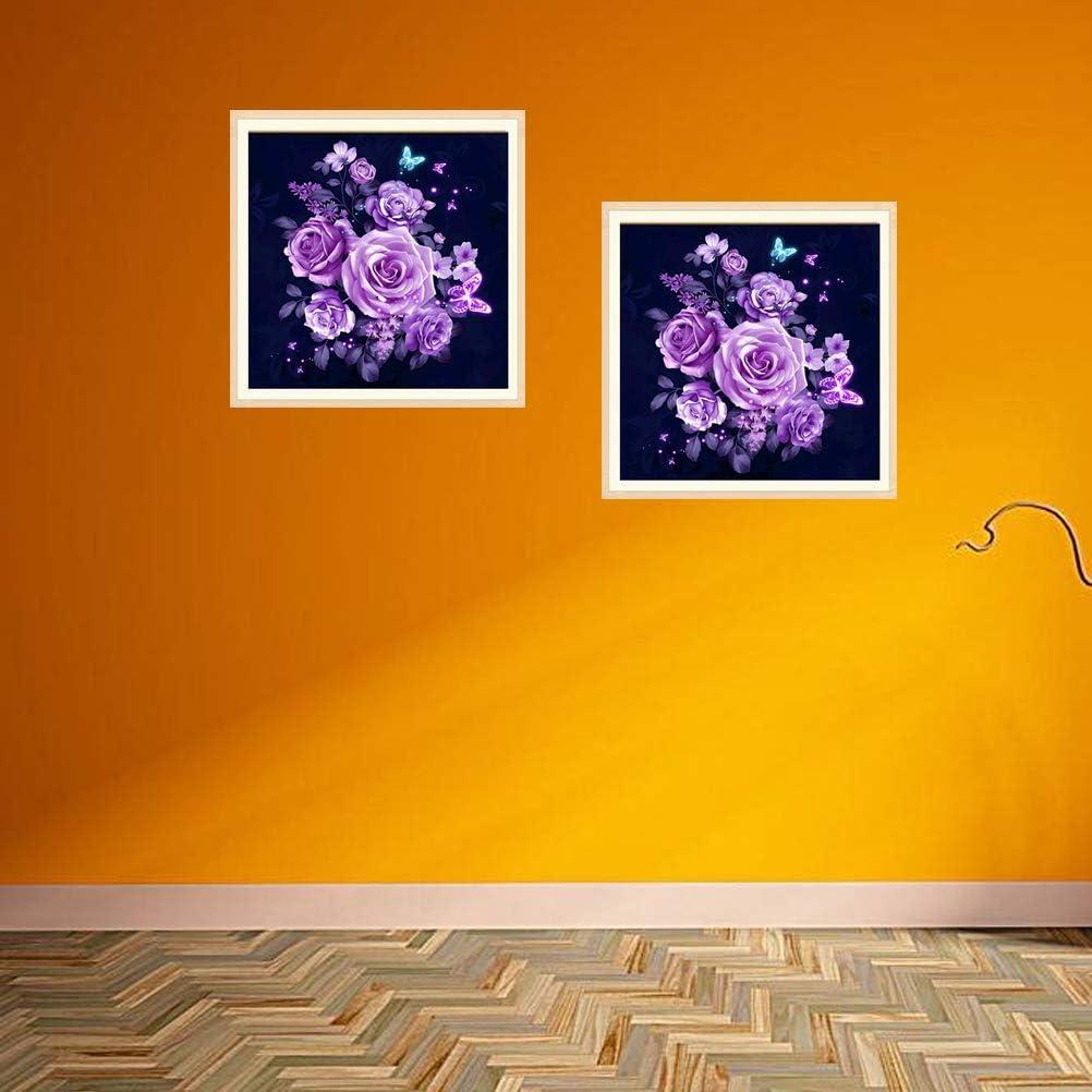 Vosarea DIY 5d Pintura Diamante Bordado Punto de Cruz Cuadros Pintura Arte de Bricolaje artesan/ía hogar decoraci/ón de la Pared Kit de Punto de Cruz Rosa p/úrpura