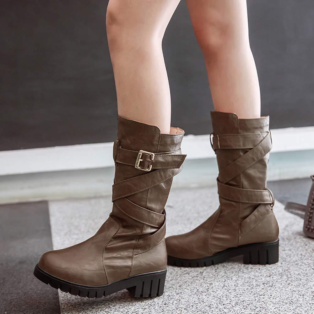 Botas Mujer Invierno, Sonnena Botines Zapatos Parte superior alta de talón plano Zapatos Mujer otoño Invierno Plataforma (BROWN-3, 39): Amazon.es: Hogar