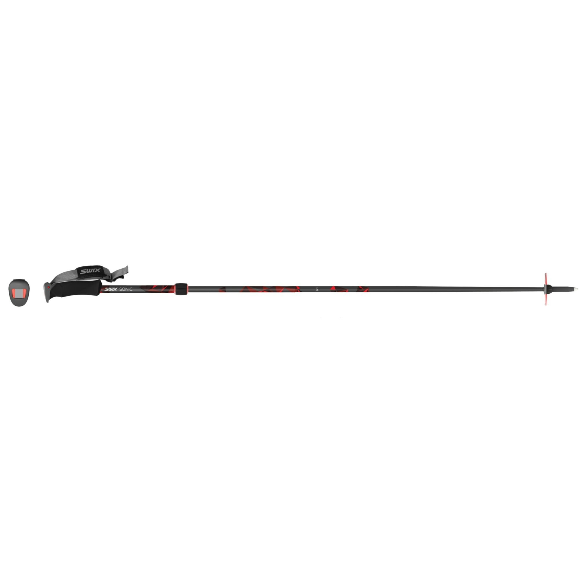 Swix Sonic R1 Full Carbon Adjustable Alpine Pole (2-Piece), Black/Red, Large/125-150cm by Swix