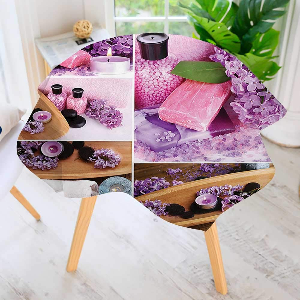 UHOO2018 Circular Table Cover Washable Polyester-Spa with Lilac Petals Fresh Therapy Oils Bath Salt Soap Relax Theme Meditation Stain Resistant Wrinkle Free Dust Table Cover 55'' Round by UHOO2018 (Image #1)