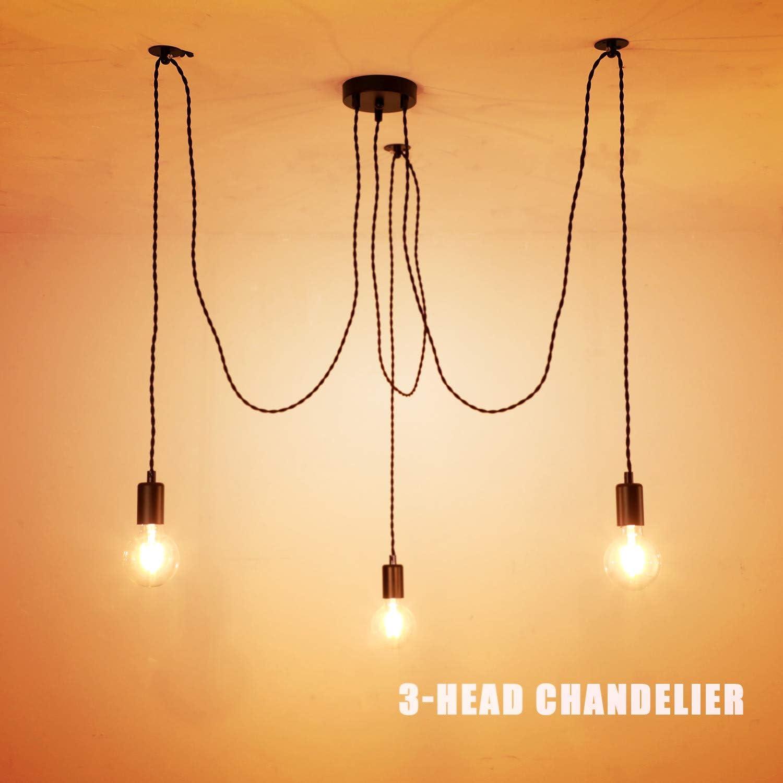 Lámpara de techo industrial, color negro, araña colgante con cable trenzado ajustable, accesorios industriales retro, soporte de lámpara E27, metal plástico, 3 lights