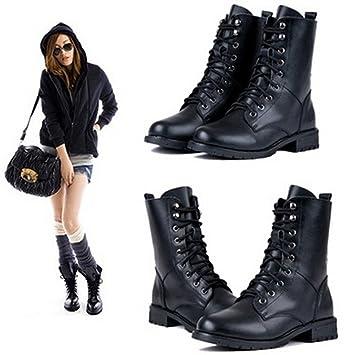 iumer mujeres Martin botas Classic negro tobillo botines botas de combate Militar Lace Up vaquero Fashion