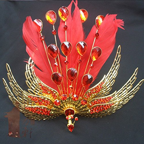 Generic Phoenix Palace Coronet costume headdress costume crown tiara headdress hair accessories classical Chinese style red feather headdress bride -