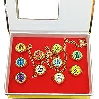10 stks / set Fashion ringen Naruto Akatsuki Uchiha Itachi cosplay Ringen hanger Props Goud kleur voor Gift