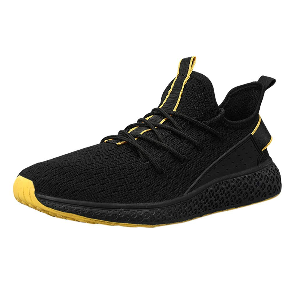 Men Women Casual Sneakers, LIM&Shop  Summer Outdoor Sports Shoes Mesh Panel Breathable Flats Lace Up Running Work Out Yellow by LIM&SHOP-Sandals & Sneakers