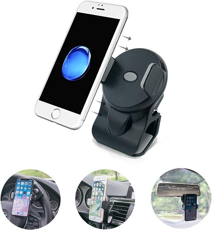 micagos Soporte Móvil Coche, 3 en 1, Soporte de Rejilla de ventilación de Coche, Soporte para Volante, Espejo retrovisor, Montaje en vehículo para Smartphones universales y GPS, Color Negro: Amazon.es: Electrónica