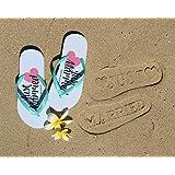 Just Married Flip Flops - Stamp / Imprint on Beach Sand Wedding Honeymoon Slippers