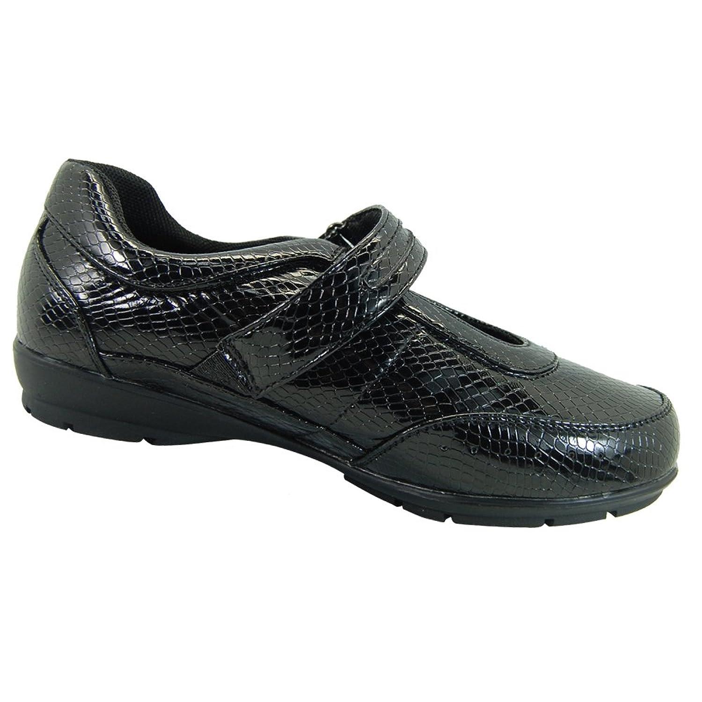 Dr Zen Dr Zen Melissa Women s Therapeutic Diabetic Extra Depth Shoe Leather Velcro Black Croc On Sale