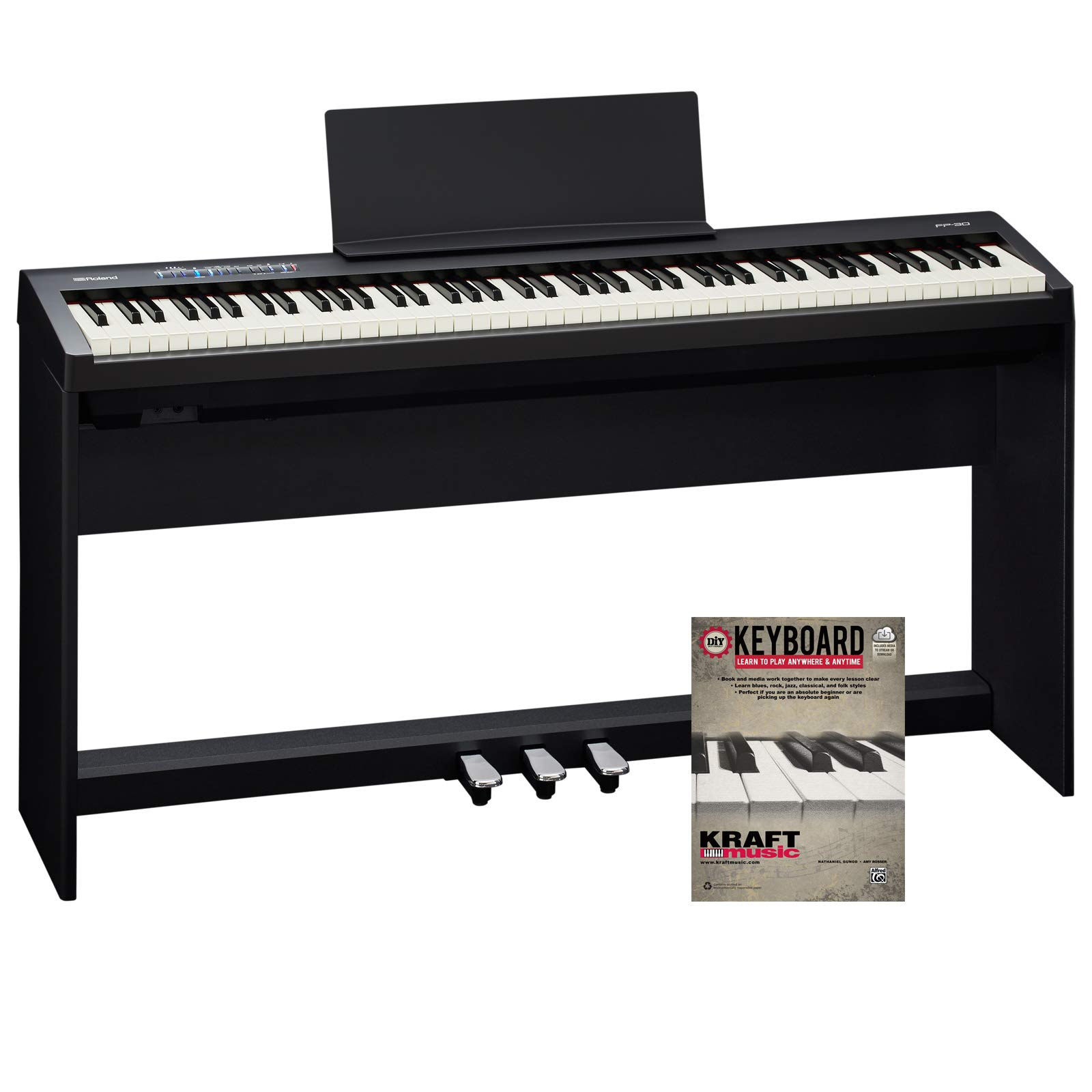 Roland FP-30 Digital Piano with KSC70BK Stand, Triple Pedal, and Lesson Book by Roland