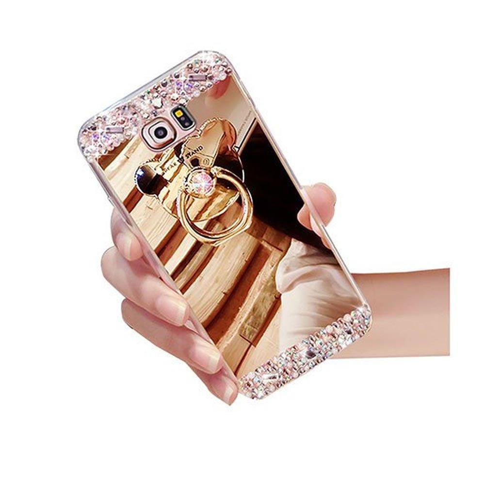 Sycode Custodia Specchio per Galaxy A7 2015, Diamante Cover per Galaxy A7 2015, Strass Lusso Glitter Silicone Custodia con Orso Ring Supporto per Samsung Galaxy A7 2015-Argento