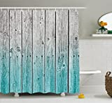 Rustic Shower Curtains Rustic Shower Curtain by Ambesonne, Wood Panels Background with Digital Tones Effect Country House Image, Fabric Bathroom Decor Set with Hooks, 70 Inches, Teal Grey