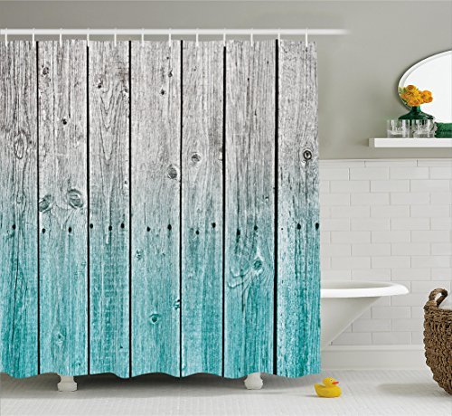 Rustic Shower Curtain by Ambesonne, Wood Panels Background with Digital Tones Effect Country House Image, Fabric Bathroom Decor Set with Hooks, 70 Inches, Teal Grey