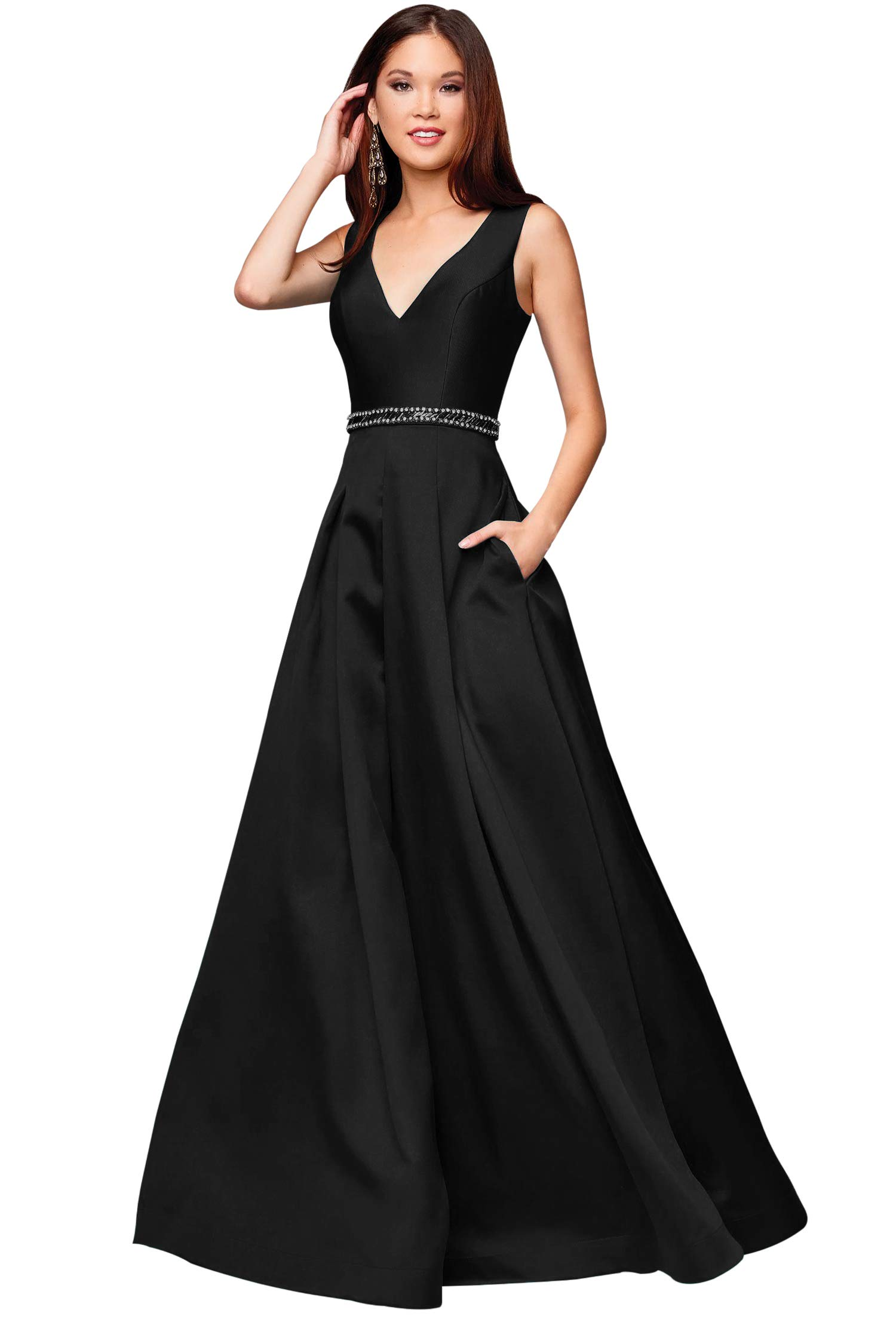 a681e7132d58 Zhongde Women's A-line V Neck Beaded Satin Prom Dress Long Evening Formal  Gown with Pockets Black Size 2