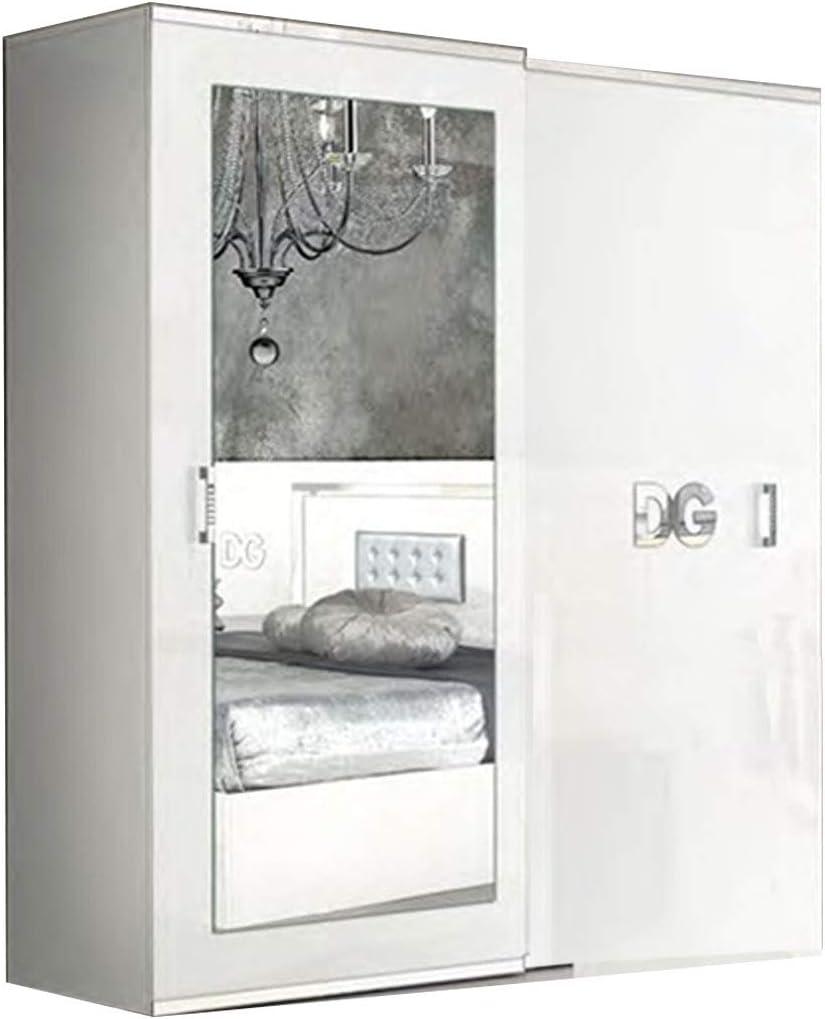 LIGNEUBLE Gala Lacada Blanco y Plata Dormitorio Diseño: La composición con el Armario 2 Puertas correderas + la Cama 160 + los 2 caballetes + la cómoda + el Espejo: Amazon.es: Hogar