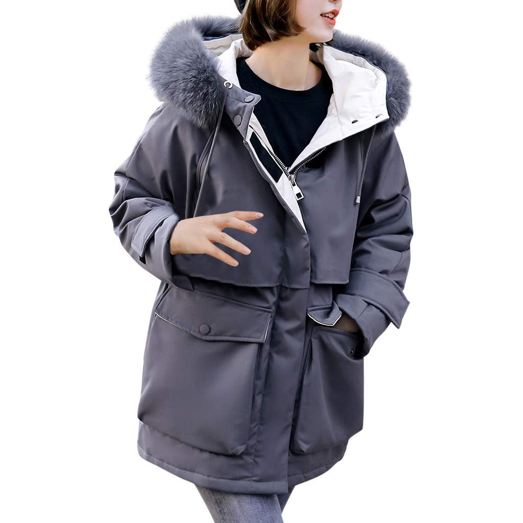 Happylove  Women's Thickened Down Jacket,Faux Fur Hooded Warm Coats Parkas with Jackets Gray by 👏 Happylove 👏