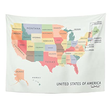 Emvency Tapestry United Colorful USA Map Name of States Washington Alabama  Home Decor Wall Hanging for Living Room Bedroom Dorm 60x80 Inches