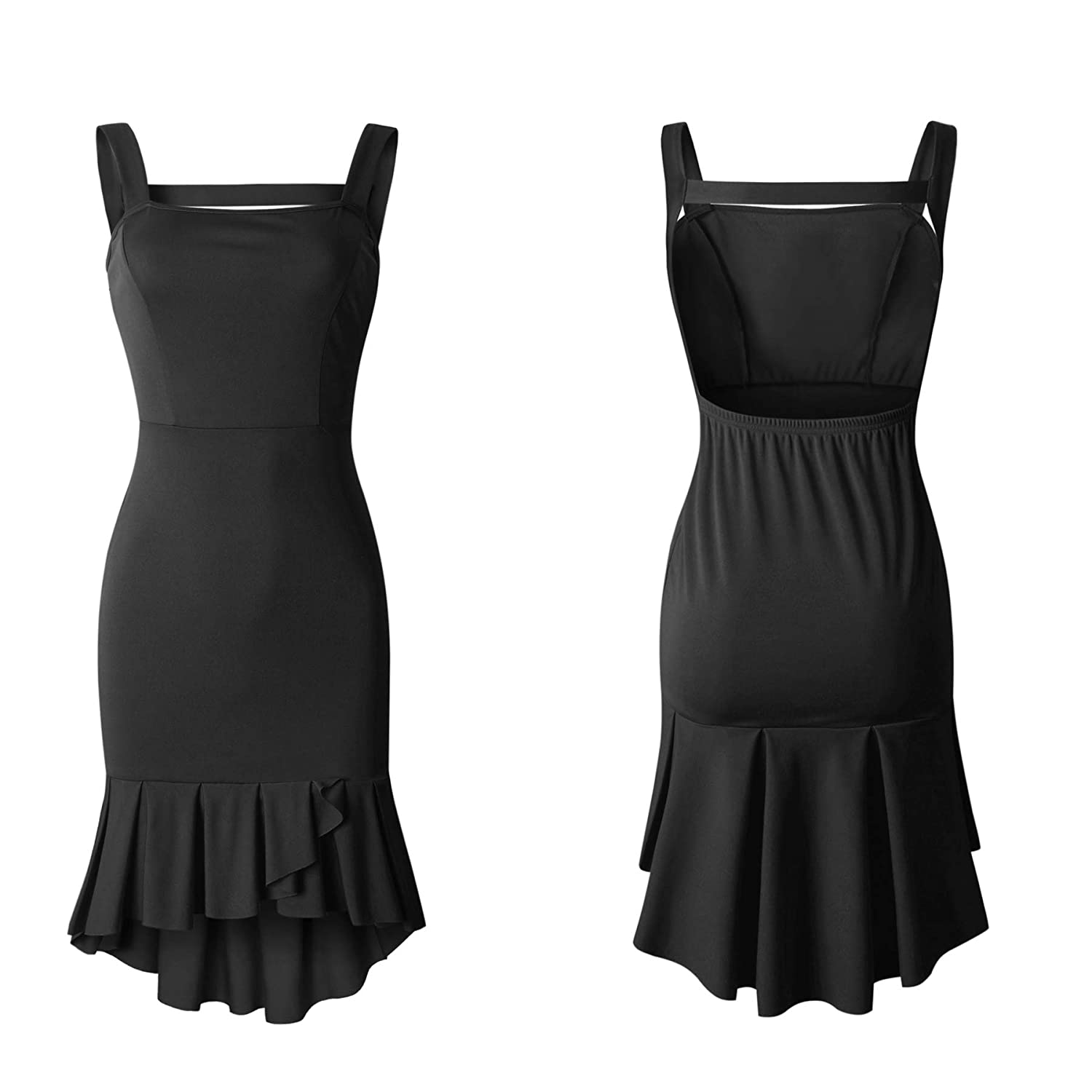 6a526dff264 Ecowish Womens Bodycon Backless Cocktail Dress Sleeveless Ruffled Wrap High  Low Sundress  Amazon.co.uk  Clothing